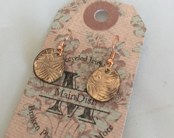 Rose gold earrings/repurposed Jewelry/circle earrings/rose gold jewelry/circle dangles/recycled materials/gift for her