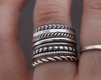 Sterling silver stacking rings.silver stack rings.stack of 8.Custom made.Hand made.Stackable rings.Stacking set.