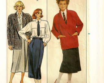 A Double Breasted Jacket, Mock Wrap Skirt & Loose Fitting Long Sleeve Shirt Fashion Sewing Pattern for Women:  Sizes 6-8-10 • Butterick 6871