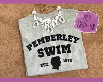 DIY Pemberley Swim Jane Austen vinyl Iron- On transfer for fabric Pride and Prejudice t shirt pillow blanket banner clothing craft supplies