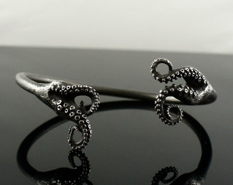 Octopus Jewelry, tentacle bracelet, tentacle cuff, octopus Bangle - Double Tentacle Split Bangle