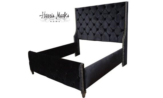 Lujo Negro Muebles Tapizados Cabecera Rey Friso - Muebles Para Ideas ...