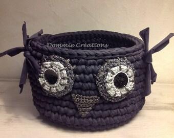 Plum silver Trapilho OWL basket