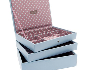 Stackers Set of 3 Blue Pink Medium Stacker Jewellery Trays -Style 2 LCSETBLUEPINK2