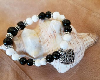 Black Onyx and White Tridacna Gemstones