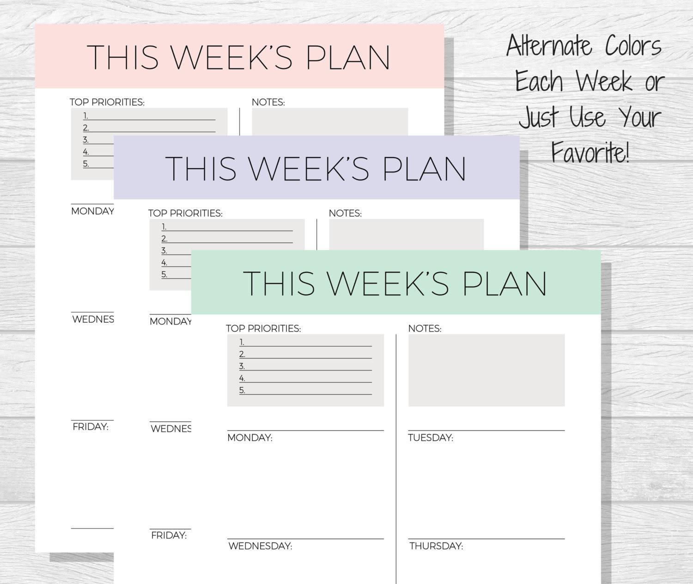 Weekly Planner Printable 2018 Planner pdf Printable