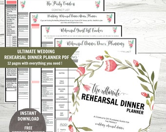 Wedding Rehearsal Dinner Planner, Rehearsal Dinner Planner, Printable  Wedding Plannner, Instant Download,