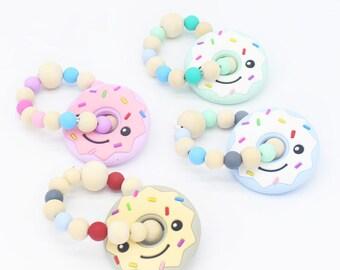 Baby Donut-shaped Teether Cartoon Teeth Grinding Toy Pacifying Teether Bracelet
