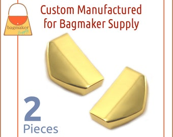 """1 Inch Strap / Zipper Ends, Shiny Gold Finish, 2 Piece Pack, Purse Handbag Hardware Supplies, One Inch, 1"""" Tips, STR-AA010"""