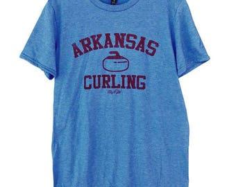 Arkansas Curling Blue Cotton Poly Blend Tee