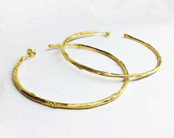 gold branch earrings, gold twig earrings, gold plated sterling silver twig hoop earrings branch hoop earrings