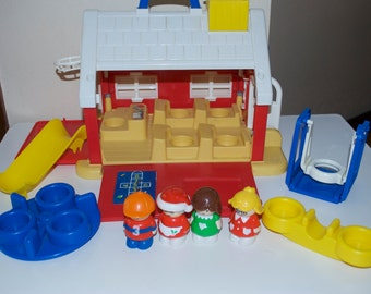 Shelcore School House Playset 1991 Plastic with People & Playground
