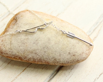 Sterling Silver Bow and Arrow Lariat Necklace