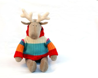 Stuffed Reindeer in pullover, Christmas gift for kids