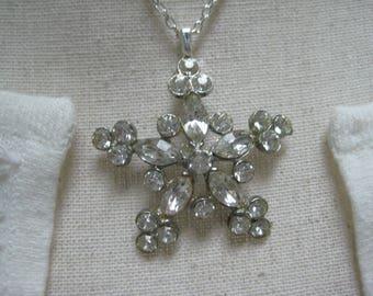 Vintage Bridal, Bridesmaid Necklace, Vintage Brooch, Clear Silver Tone, Wedding Bride, Gift for Her, Repurposed Vintage, OOAK /N51