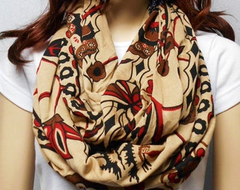 Tribal with Flowers & butterflies Infinity Scarf Jersey Knit