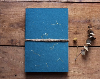 Constellation blue notebook, gold handmade journal, astronomy diary