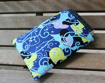 Blue, Lavender, and Lime Green Swirl Abstract Design Small Padded Foam Fully Lined 9x7.5 Book Sleeve Tablet Case