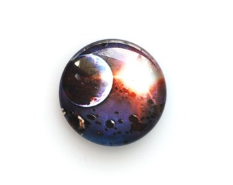 20mm handmade cabochon - Planet with asteroid field - Space cabochon - Standard profile