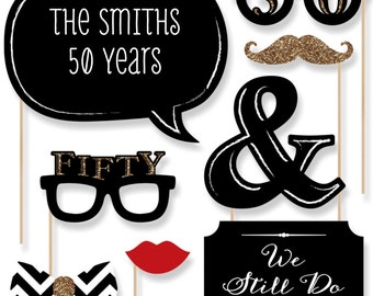 50th Anniversary - 20 Piece Anniversary Photo Booth Props Kit