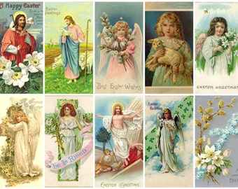 Easter Vintage Religious Postcards Digital Collage Sheet C-150 for Scrapbooking, Tags, Cards, Journals, Decoupage