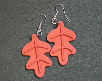 Earrings Clay Oak Leaf Terra Cotta, jewelry polymer handmade, fall autumn  (890)