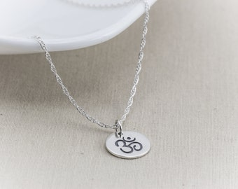 Om Necklace, Ohm Necklace, Sterling Silver Necklace, Yoga Necklace, Om Ohm Charm Pendant, Yoga Zen Jewelry, Sanskrit,