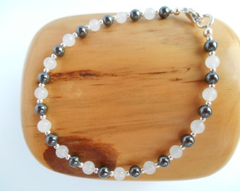 Genuine hematite and snow quartz bracelet