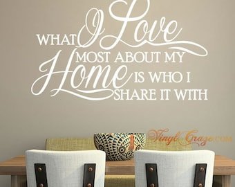 What I Love Most About My Home Is Who I Share It With - Vinyl Wall Quote