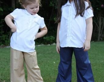 Uniform Navy, Khaki, and Black Ruffle Pants Baby, toddler, and girls ruffle