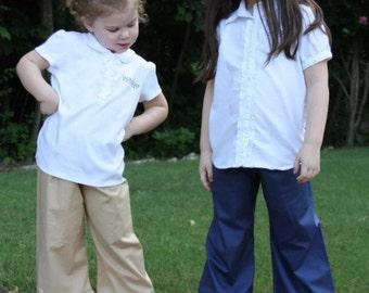 Uniform Navy, Khaki, and Black Ruffle Pants Baby, toddler, and girls ruffle pants sz 12m, 18m, 24m/ 2, 3,4,5,6,7,8, 10, 12