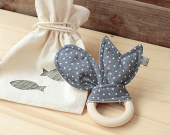 "Natural Wood Teether | ""Peixets"" dark grey"