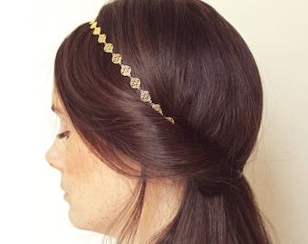 "Chain with raw brass pinwheel headband ""Sophie"" Pemberley jewelry / Fascinator / Head jewelry chain / brass Headband / Bohemia"