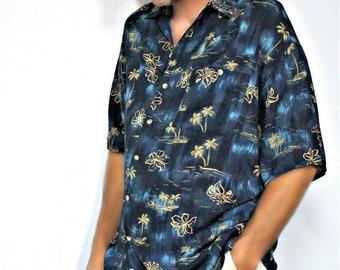 Vintage Men's Shirt Aloha Short Sleeve Extra Large Blue Palm Trees Hawaiian