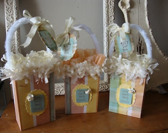 Easter gift bags embellished gift wrap gender neutral paper bags hostess gift party favors Easter candy containers wrapping Easter packaging