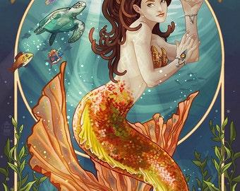 Bodega Bay, California - Mermaid (Art Prints available in multiple sizes)