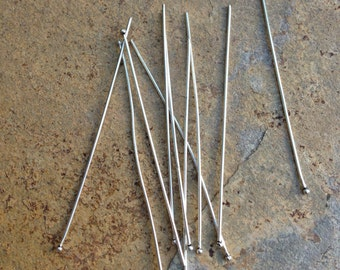 Sterling Silver Headpins, 10 headpins, 2 & 1/2 Inch
