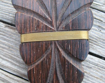 Beautiful Carved Wood and Brass Accent Leaf Shoe Clips