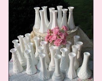 Vintage Milk Glass Bud Vase Collection of Ten / The Wedding Collection