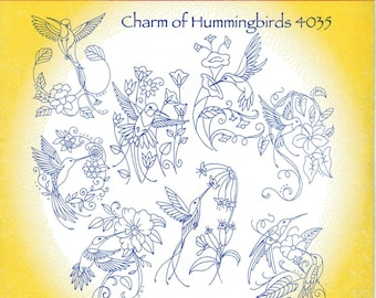 Charm of Hummingbirds Aunt Martha's Embroidery Transfer Designs Pattern #4035