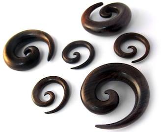 """Sono Wood Spirals Plugs Sizes / Gauges (8G - 3/4"""") - New!"""