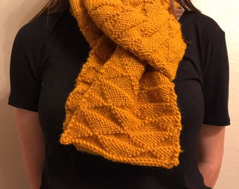 Knit Yellow Triangle Scarf