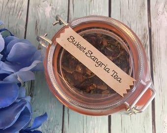 Sweet Sangria Loose Leaf Tea in Glass Hermes Clamp Jar Rooibos No Caffeine