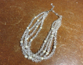 Elegant Holiday Formal Party 3 Strand Beaded Necklace Plastic
