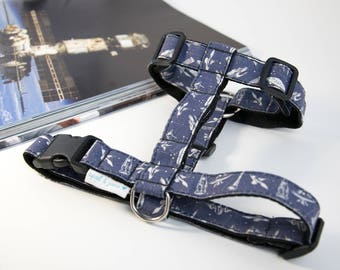 """Dog Harness or Cat Harness """"Space Harness Set"""" Harness and Leash Set"""