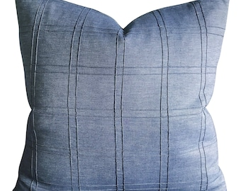 "Blue Denim Box Pintuck Decorative Pillow Cover 22""x 22"""