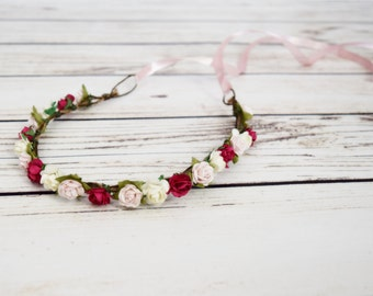 Handcrafted Pink and Ivory Flower Crown - Hot Pink Flower Halo - Pastel Pink Bridesmaid - Flower Girl Crown - Renaissance Flower Crowns