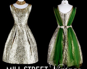 Vintage 1950s 50s Dress --- Gold Green Metallic Adrian London Cupcake Party Wedding Prom Cocktail Special Occasion Chiffon Scarf XS S