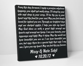 Wedding Gift, Wedding Vows on Canvas, Valentines Day Gift