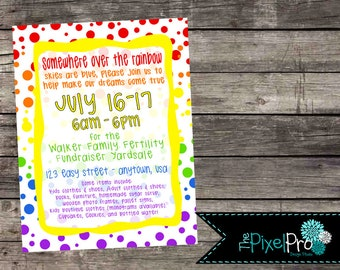 Rainbow fertility fundraiser poster, adoption fundraiser poster, adoption yard sale poster, fertility yard sale poster, rainbow fundraising